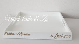 Dienblad wit met namen en datum