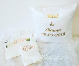 Kussen huwelijk & 2 handdoekjes.