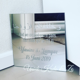 Welkomsspiegel wedding zilvere tekst
