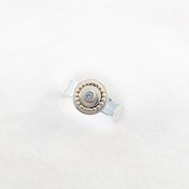 Hamerslag ring met plaatje en Aquamarijn