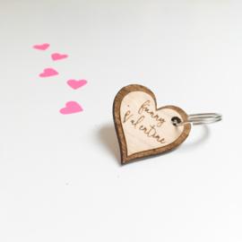 Houten sleutelhanger | Valentijn