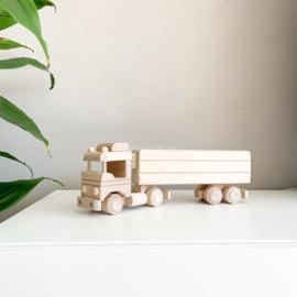 Houten vrachtwagen spaarpot | Groot