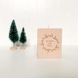 Houten waxinelichthouder | Eerste Kerst
