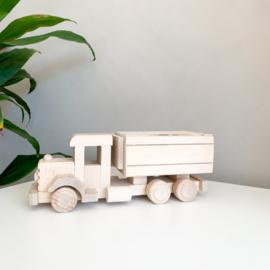 Houten vrachtwagen spaarpot | Klein