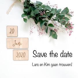 Houten datum kaarten   Save the date