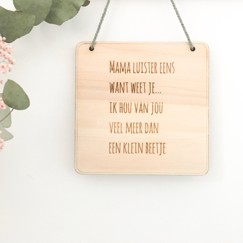 Bordje met tekst | Voor mama