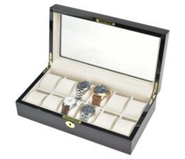 W24 horloge bewaarbox met glazen venster voor 10