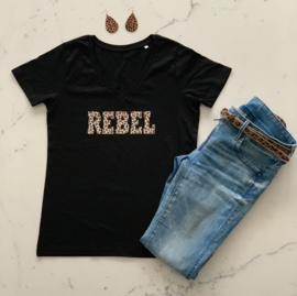 """REBEL""  Leopard Black or White T-shirt"