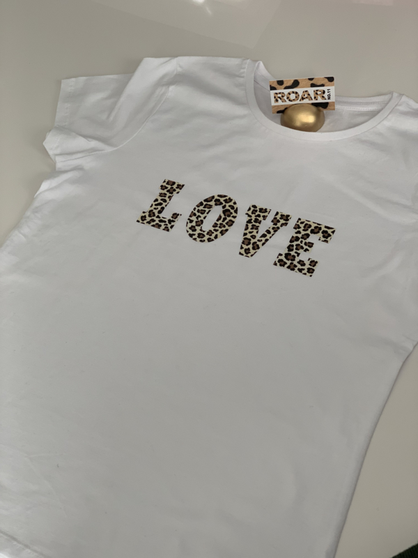 """L O V E"" Leopard Black or White T-shirt"