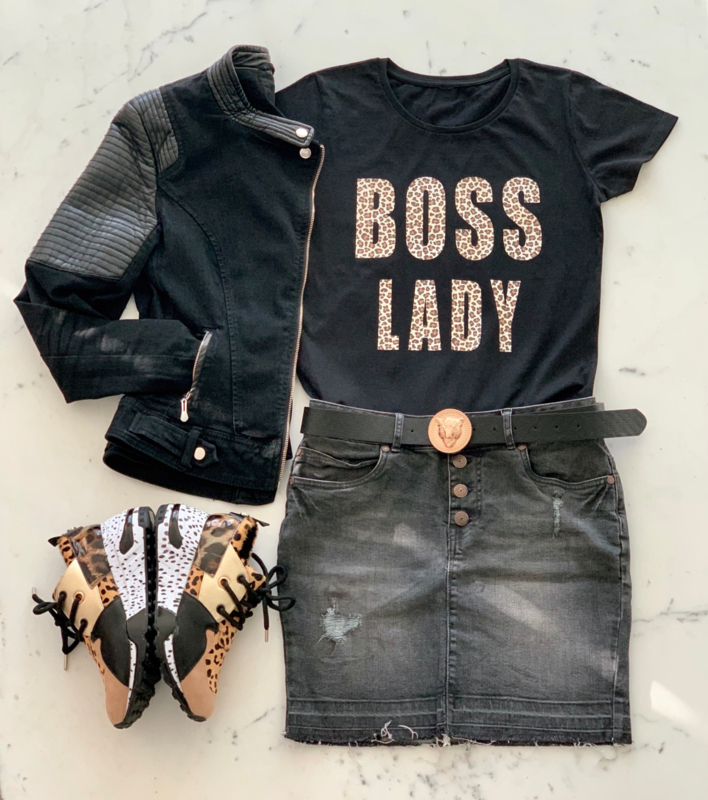 """BOSS LADY""  Leopard Black or White T-Shirt"
