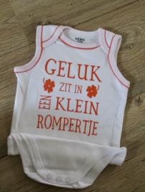 Romper in wit/oranje mt. 74/80 Geluk...