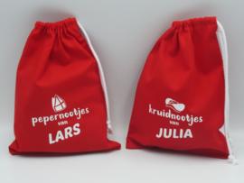 Rode snoepzakjes met naam | Sinterklaas