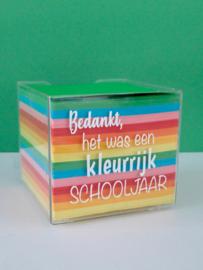 Memoblokhouder 'kleurrijk schooljaar'