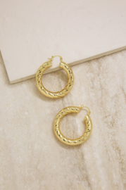Thick Textured Gold Hoop Earrings