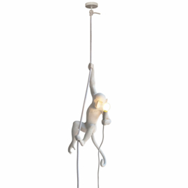 Monkey lamp aan touw - wit