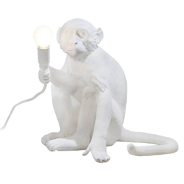 Monkey lamp zittend - wit
