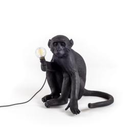 Monkey lamp zittend - zwart