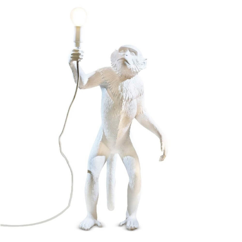 Monkey lamp staand - wit