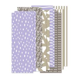 Papierstroken lila/taupe/beige (12 stuks)
