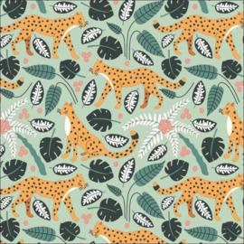 Inpakpapier 'Jungle Panter mint' 30 x 300 cm