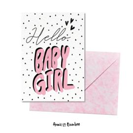 Wenskaart - Hello baby girl
