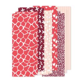Papierstroken rood/roze (12 stuks)