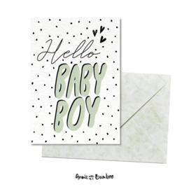 Wenskaart - Hello baby boy