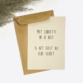 Ansichtkaart - Met confetti in je reet is het feest bij elke scheet