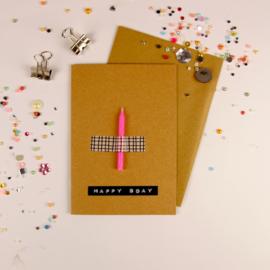Wenskaart | Verjaardagskaars - roze | Bamboo Special