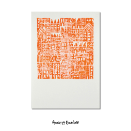 Concrete Jungle - oranje | 30 x 40 cm