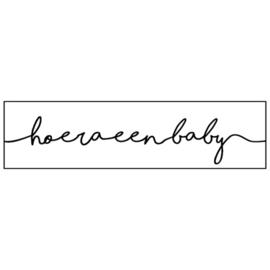 Stickers | HOERA EEN BABY - wit + zwart | 10 stuks