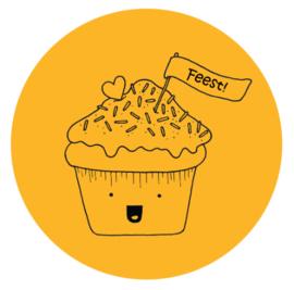 Barabrenda | Sticker cupcake oker 6 stuks
