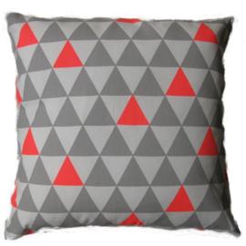 Kussenhoes driehoek grijs/ fluor roze