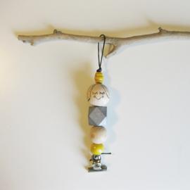 Barabrenda | Kaarthanger meisje zilver & geel