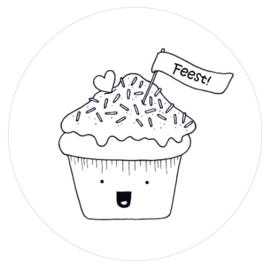 Barabrenda | Sticker cupcake zwart/ wit 6 stuks