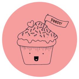 Barabrenda | Sticker cupcake roze 6 stuks