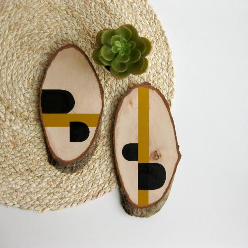 Barabrenda   Houten decoratie oker & zwart  horizontaal
