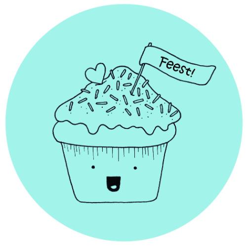 Barabrenda   Sticker cupcake blauw 6 stuks