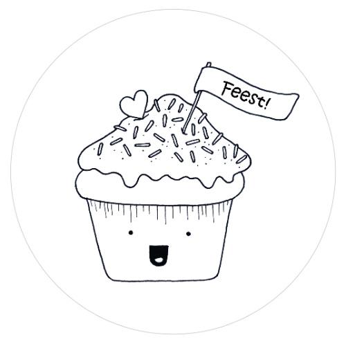 Barabrenda   Sticker cupcake zwart/ wit 6 stuks