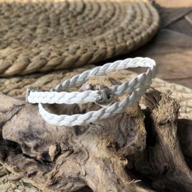 Wikkelarmband | Vlecht enkel | Wit | Anker