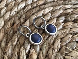 Cabochon oorbellen | Glans | Donkerblauw