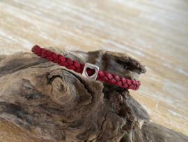 Armband 5mm   Gevlochten   Rood   Hart