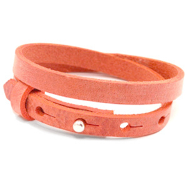 Cuoio lederen armband | Dubbel | Coral Red