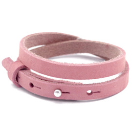 Cuoio lederen armband | Dubbel | Pressed Rose Red