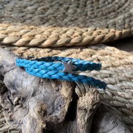 Wikkelarmband | Vlecht enkel | Turqouise | Ster