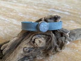 Armband 10 mm | Cabochon Plat | Jeans blauw