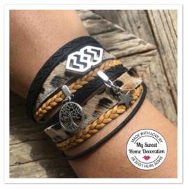 Wikkelarmband | Leopard | Okergeel & Zwart
