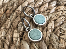 Cabochon oorbellen | Ster | Turqouise