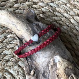 Wikkelarmband | Vlecht enkel | Rood | Hart