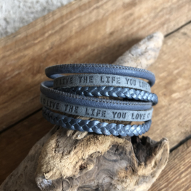 Wikkelarmband | Live the life you love | Blauw